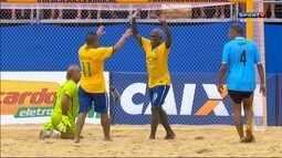 Os gols de Brasil 6 x 1 Uruguai pelo Desafio dos Reis de futebol de areia