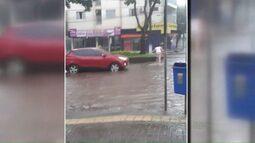 Chuva rápida e intensa alaga avenida JK, em Foz