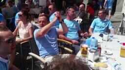 Torcida do Manchester City festeja nas ruas antes de jogo contra o Real Madrid