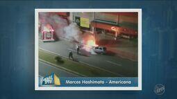 Carro pega fogo no bairro Verner Plass, em Americana