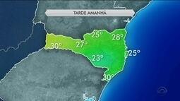 Tarde de quarta-feira (28) deve ser de sol e altas temperaturas em SC