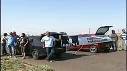Caminhoneiros protestam contra roubos de carga em Uberaba