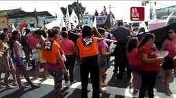 Professores fazem protesto nas ruas de Manaus contra a proposta de reforma da Previdência