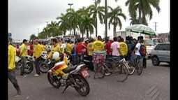 Mototaxistas protestaram e interditam trecho da BR-316, na Grande Belém