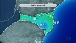 Veja como fica o tempo ao longo desta sexta (28) em todas as regiões de SC