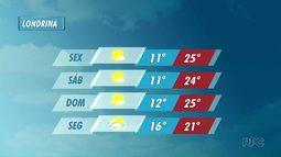 Tempo segue firme e temperaturas continuam baixas na região de Londrina