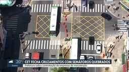 CET fecha cruzamentos com cones por falta de manutenção nos semáforos