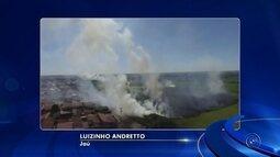 Bombeiros têm trabalho para controlar focos de incêndio em área de mata em Jaú