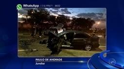 Carros batem de frente e motoristas ficam feridos em rodovia de Jundiaí