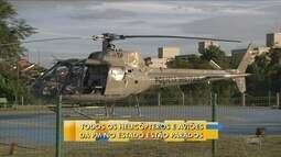 Três helicópteros da PM em SC estão parados por seguro atrasado e falta de peças