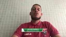 Uillian Correia, do Vitória, mira melhorar desempenho dentro de casa