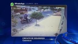 Câmera registra tiroteio que deixou suspeito de roubo ferido em Catanduva