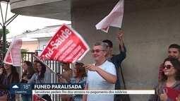Funcionários da Funed fazem manifestação em Belo Horizonte