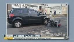 Motoqueiro fica ferido em acidente entre um carro e moto, em Americana