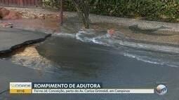 Adutora rompe em Campinas e rua do Jardim Conceição vira 'rio'