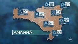 Veja como ficará o tempo em todas as regiões de SC nesta quinta-feira (19)