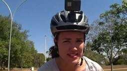 Carina Ávila pedala pelo Parque da Cidade e faz avaliação muito positiva do passeio