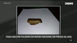Vídeo mostra fuligens do Museu Nacional em prédio da Uerj