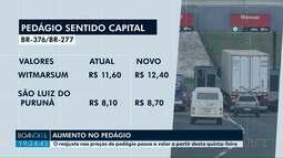 Pedágios serão reajustados nesta quinta-feira (13) no Paraná