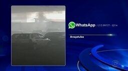 Picape e caminhonete pegam fogo em estacionamento de supermercado em Araçatuba