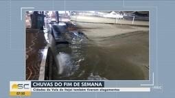 Alagamentos são registrados em cidades do Vale do Itajaí após chuva
