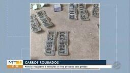 Polícia recupera 5 veículos roubados em Cuiabá e três pessoas são presas