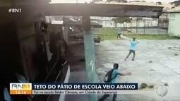 Parte do teto de escola em Natal desaba e atinge dois alunos