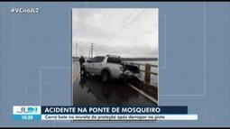Caminhonete destrói mureta da Ponte de Mosqueiro, em Belém