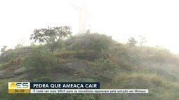 Temporal aumenta medo de moradores que vivem embaixo de pedra que ameaça cair em Mimoso