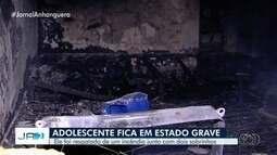 Adolescente e sobrinho de 2 anos ficam feridos durante incêndio em casa, em Goiânia