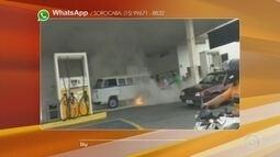 Kombi pega fogo em posto de combustíveis em Itu