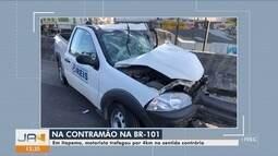 Motorista trafega por 4 km na contramão na BR-101 e colide contra carro em Itapema