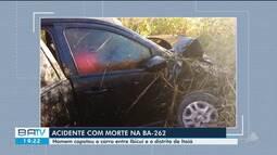 Homem morre após carro capotar e cair em ribanceira na Bahia