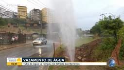 Rompimento de tubo provoca vazamento de água na Estrada da Rainha