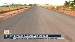 Usuários reclamam de pavimentação de estrada para a Capela da Saudade em Uberlândia