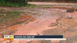 Chuva causa alagamentos em Macaé, no RJ