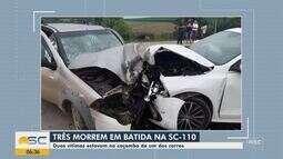 Três pessoas morrem em colisão na SC-110 no Vale do Itajaí