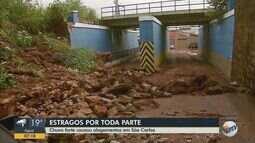 Chuva forte causa estragos e derruba muro em São Carlos
