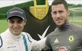 Ação de marketing promove duelo entre Felipe Massa e Eden Hazard na pista e no campo