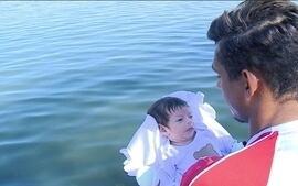 Isaquias Queiroz revisita Lagoa Rodrigo de Freitas com o filho Sebastian