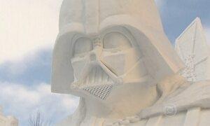 Festival de esculturas de gelo do Japão é o mais famoso do mundo