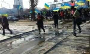 Marcha pelo aniversário da queda do governo da Ucrânia termina em violência