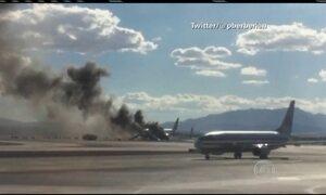 Avião pega fogo antes de decolar em Las Vegas, nos EUA
