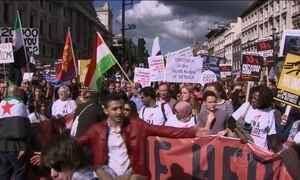 Europeus fazem manifestações de apoio a refugiados em várias cidades