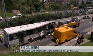 Acidente com ônibus na Linha Amarela mata cinco pessoas no RJ
