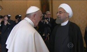 Papa Francisco recebe o presidente do Irã no Vaticano