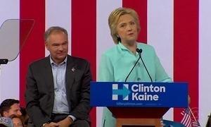 Hillary Clinton faz primeiro comício ao lado de senador escolhido para vice