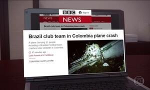 Acidente com avião da Chapecoense repercute em vários países