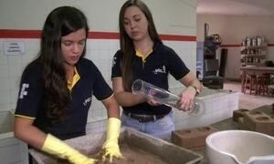 Estudantes criam tijolos ecológicos
