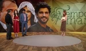 Atores da novela 'Tempo de Amar' visitam estúdio do Fantástico